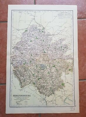 Early 20th century map Bacons Geographical Establishment HEREFORDSHIRE