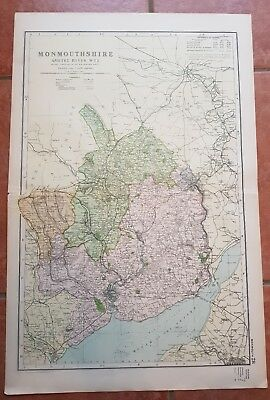 Early 20th century map Bacons Geographical Establishment MONMOUTHSHIRE