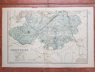 Early 20th century map Bacons Geographical Establishment SHROPSHIRE