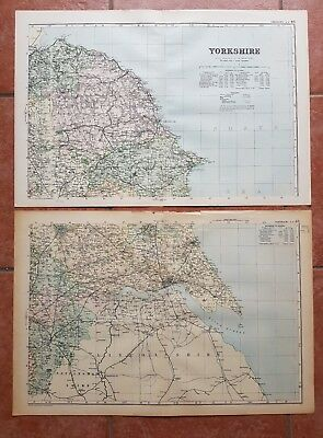 Early 20th century 2 sheet map Bacons Geographical Establishment YORKSHIRE