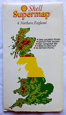 SHELL SUPERMAP. No 4 NORTHERN ENGLAND. LATE 1970s - 1980'S FLIP-OVER SHEET MAP