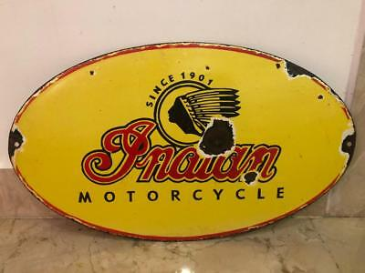 Vintage Porcelain indian MotorCycle Enamel Sign