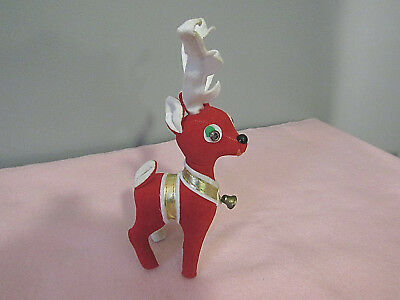 Vintage Christmas Red Cloth Felt Reindeer with Bell