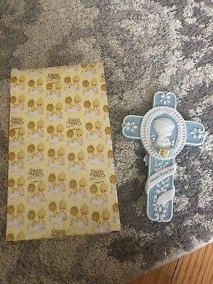 Precious moments Christening Baby Boy Cross New In Box