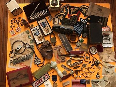 Vintage Junk Drawer Lot Knives Military Advertising Sterling 925 Unique Items