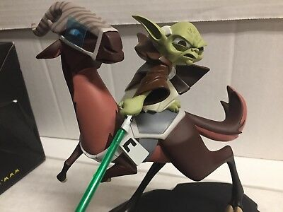 """Star Wars Clone Wars """"yoda On Kybuck"""" Maquette Gentle Giant Limited Edition 1951"""