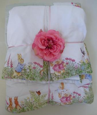 Pottery Barn Kids Peter Rabbit Crib Quilt & Bed Skirt  Beatrix Potter Velveteen