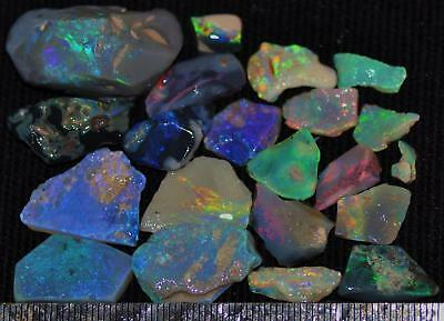 100 Cts Solid Gem Quality Lightning Ridge Rough And Rough Rubbed Opal Parcel 46