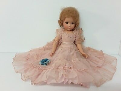 "Vintage Doll 18 "" Hinged Sleepy Eyes Firm Plastic?Composition Ruffled Dress"