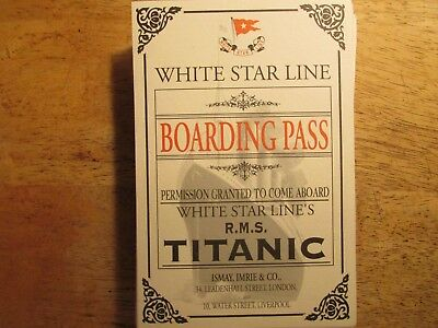 2003 Replica RMS Titanic White Star Line Boarding Pass Ticket #PC 17767