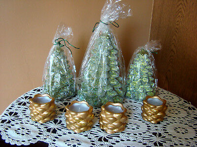 Glittered Christmas Tree &  Pine Cone Candles - NOS