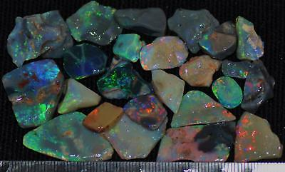 100 Cts Solid Gem Quality Lightning Ridge Rough And Rough Rubbed Opal Parcel 50