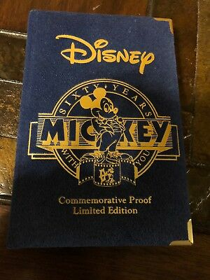 Walt Disney Mickey Mouse Commemorative Proof Limited Edition .999 Troy Oz Silver