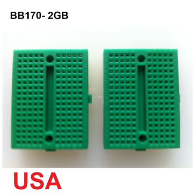 UDIYKITS. 2pcs GREEN MINI BB170 TIE POINTS SOLDERLESS BREADBOARD WITH DEVOLTAIL