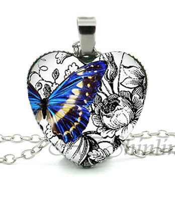 Blue Yellow Butterfly Art Flowers Love Cabochon Heart Glass Silver Necklace NEW
