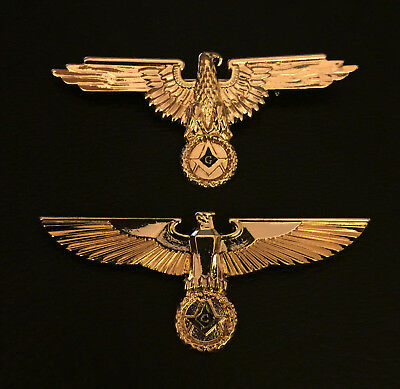 Pair Gold German Eagle Masonic Bar Pin Badge Insignia Square and Compasses 70mm