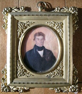 Antique Spanish Portrait Miniature Lovely Dore Gilt Metal Frame by B. R.Herve