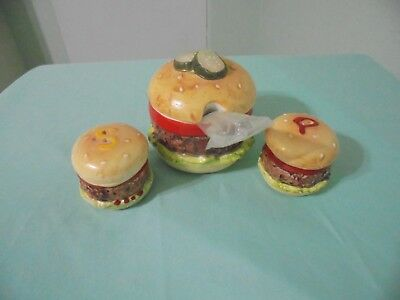 Vintage Hamburger Salt And Pepper Shaker With Matching Relish Condiment Dish