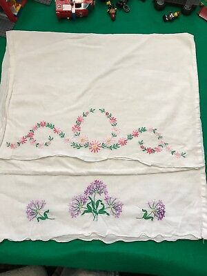 Two Vintage Hand Embroidered Pillowcases. Pink And Purple / Lavender Flowers