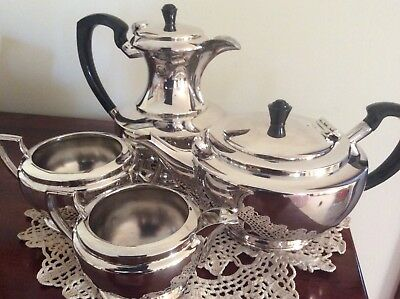Vintage silver plated four piece tea service, excellent condition.