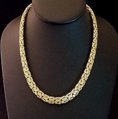 Sterling Silver Byzantine Chain Necklace Gold Plated Vermeil Italy Veronese 35g