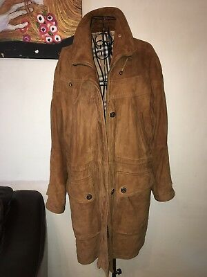 "Burberry Suede Parka Coat 50"" Chest"