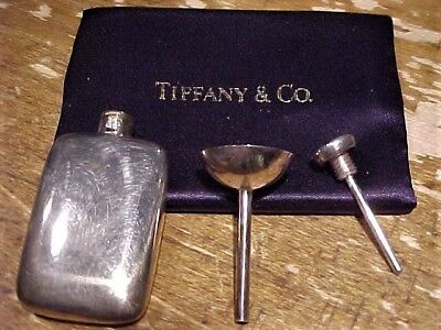 Vintage Small Sterling Silver Tiffany & Co Flask Perfume Bottle + Case + Funnel