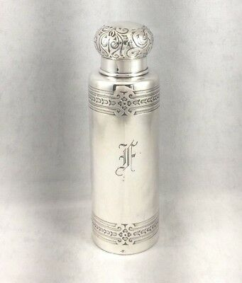 Tiffany & Co Sterling Decorated Perfume Cylinder Bottle- Mono 'F'- 4 3/4""