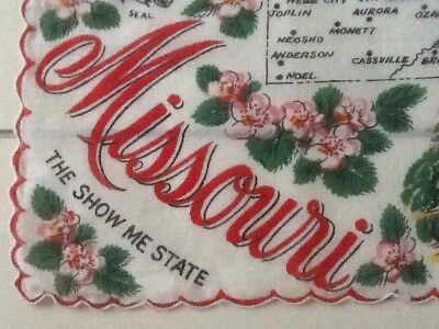 Missouri Souvenir Handkerchief.  Bright red letters and great graphics.