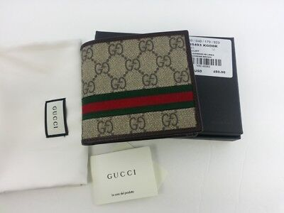 9a16a1ad472b02 Authentic Gucci Mens GG Supreme Web Bifold Canvas Wallet w/ Coin Pocket