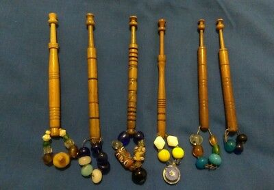 6 antique wooden lace bobbins, all spangled, with turned rings