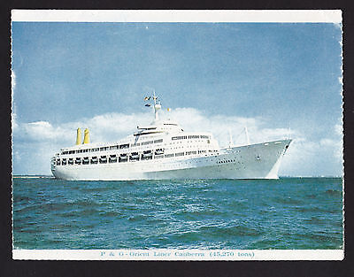 1969 P & O Line Canberra ship folding letter card 4 1/2 x 5 7/8""