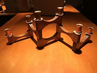 Vintage Mid-Century Modern Candelabra Candle Stick Holder Wood