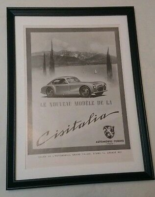 Cisitalia 202GT Pininfarina Advert rare 1947 Original Framed Excellent Condition