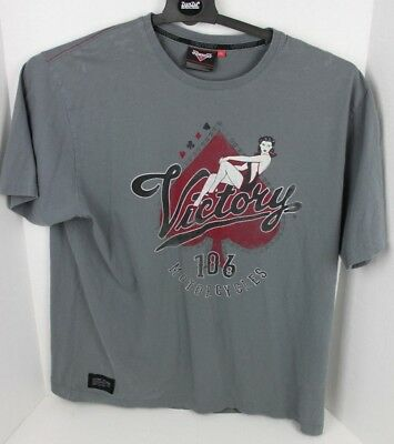 Victory Motorcycles Short Sleeve 106 Pinup Girl Gray T Shirt Adult Size 2XL XXL