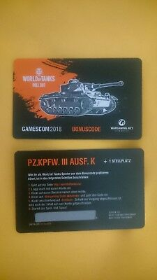 WoT World of Tanks Bonuscode PZ.KPFW. III AUSF. K +Stellplatz Gamescom 2018 PC