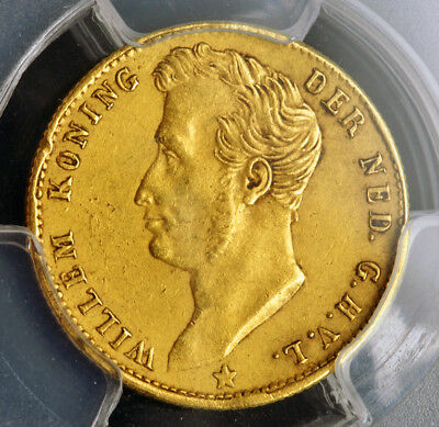 1826, Netherlands, William I. Gold 5 Gulden Coin. 1st Year of Type! PCGS AU-53!