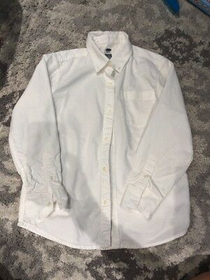 Old Navy White Button Down Shirt Long Sleeve Size Medium 7-8
