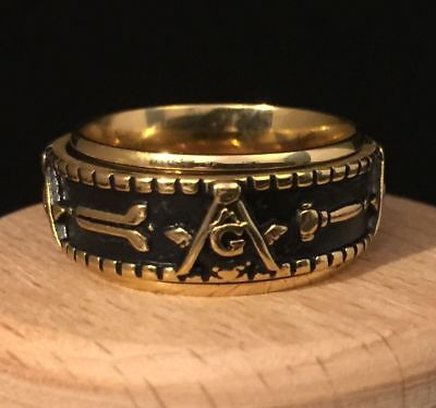 Masonic Gold Spinner Ring Revolving Band Square & Compasses Freemason V½ 11