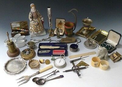 Vintage antique curios collectables job lot including sterling silver 50+ items