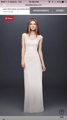 White David's Bridal floor length wedding dress size 10 New with tags