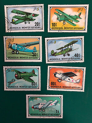Set of 7 x 1976 Mongolia aircraft stamps