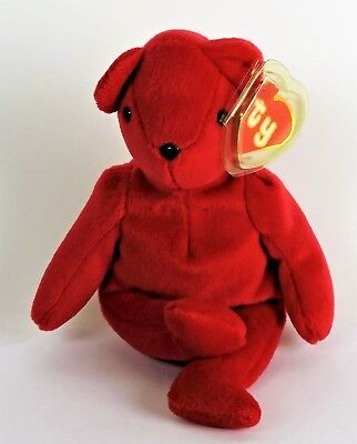 "1993 Retired Ty Beanie Baby ""Teddy"" Old Face Red - Tush Tag 1st Generation"