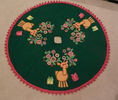 Vintage Adorabble Chistmas Tree Skirt w/ Reindeers highlighted with Sequins