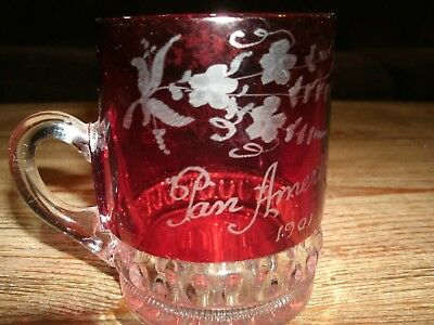 Pan American 1901 Ruby Red Cut Glass with Handle Dear MFaud Nicely Designed