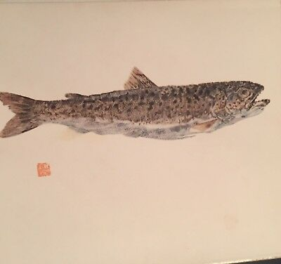 ARTIST Signed Japanese Print Of Watercolor painting Fish on Paper, SEE MARK