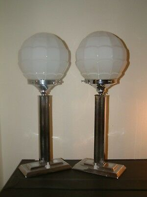 Pair Stepped Chrome Modernist Art Deco Lamp Lampe Classic White Odeon Shade