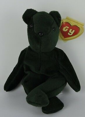 "1993 Retired Ty Beanie Baby ""Teddy"" Old Face Jade - Tush Tag 1st Generation"