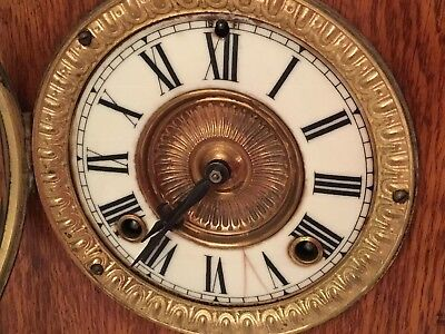 ANSONIA CARVED OAK 8 DAY PULFORD MANTEL CLOCK With WINDER 1880-90