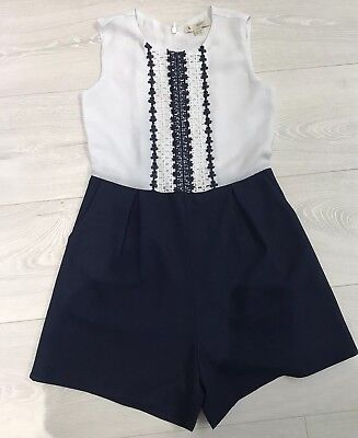 Girls Navy/ White Embroidered Playsuit Age 7-8